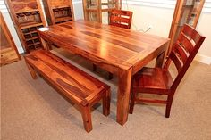 Rustic Dining Table with 2 Chairs and Bench - Colleen's Classic Consignment, Las Vegas, NV - www.colleenconsign.com