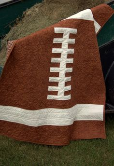"""Rookie Quarterback"", Baby Quilt Pattern, by RobinsonPatternCo This is a baby quilt but it seems like it would be pretty easy to make this out of a towel for an older guy..."
