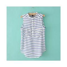 Buy Comfortable Round Neck Pockets Design Sleeveless Stripe Blouse... via Polyvore