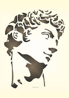 Maler Wandschablone Wandschablonen Schablone Michelangelo David Kopf in Möbel & Wohnen, Dekoration, Wandtattoos & Wandbilder | eBay