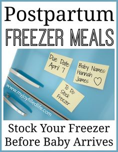Postpartum Freezer Meals {with FREE Freezer Inventory Printable} - My Joy-Filled Life Freezer cooking-these look kid friendly too! Make Ahead Freezer Meals, Crock Pot Freezer, Freezer Cooking, Freezer Recipes, Meal Recipes, Crockpot Meals, Freezable Recipes, Cooking Tips, Bulk Cooking