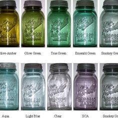 10 basic colors of Ball Perfect Mason jars Antique Bottles, Vintage Bottles, Bottles And Jars, Glass Bottles, Antique Glass, Colored Mason Jars, Blue Mason Jars, Colored Glass, Ball Canning Jars