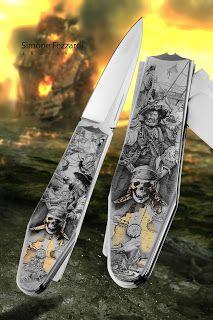 Knife Engraving by Simone Fezzardi - 2016 (Pirate Theme) Engraving Art, Pirate Theme, Knives And Swords, Armeria, Metal Working, Spade, Edc, Knives, Metalworking