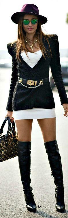 Classic Blazer and Sexy Dress | Street fashion style