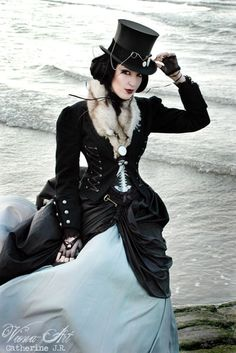 """""""Book in progress: Through the Spyglass, Steampunk/Gaslight Fantasy (Lena Goldfinch) """"Kingdom of Foam and Rain"""" by ~Pixi-Black on deviantART"""" VERY nice! Love the contrast of white and black in this fashion! Arte Steampunk, Steampunk Couture, Steampunk Design, Steampunk Cosplay, Steampunk Festival, Steampunk Clothing, Steampunk Fashion, Gothic Fashion, Steampunk Outfits"""