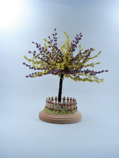 Beaded Mimosa  Wire Home Sculpture Display by wireforest on Etsy, $79.00