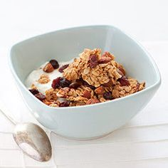 Almond Granola with Dried Fruit (served with vanilla yogurt, added toasted coconut and cinnamon, instead of stirring granola-smash down with spatula and break down when cooled)