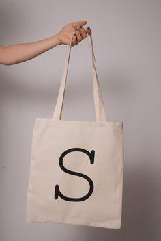 "Eco Letter ""S"" Canvas Bag, via Etsy"