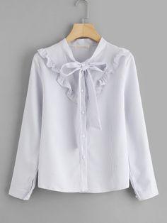 Frill Trim Tie Neck Pinstriped Shirt -SheIn(Sheinside)