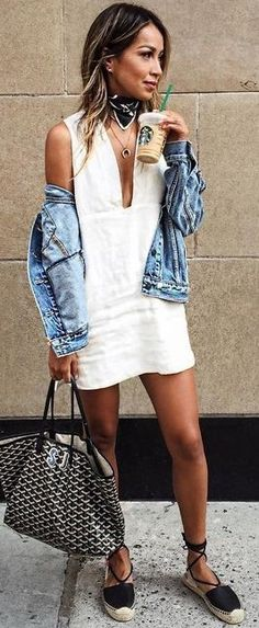 #summer #musthave #trends | Denim Jacket + Little White Dress