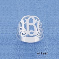 Silver Monogram ring-Personalized Monogram ring-any intial ring on Etsy, $42.00