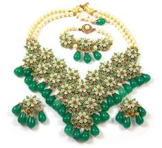 stanley hagler vintage jewelry | STANLEY HAGLER, NYC Green & Cream Beaded, Poured Glass, Simulated ...