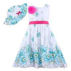 [] Mingao Little Girls' 2 Pcs Girls Dress Sunhat Rose Flower Summer Beach 5 Years []---