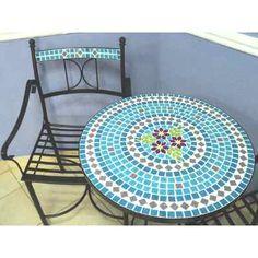 Mesa Y Sillón Exterior Hierro Y Venecitas - $ 3.280,00 Mosaic Pots, Mosaic Tiles, Mosaic Tile Designs, Stepping Stones, Beach Mat, Mandala, Outdoor Blanket, House, Mix Media