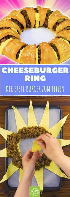 This ring is one big cheeseburger! - This ring is one big cheeseburger! It looks great and is great finger food, perfect for sharing on - Cheese Burger, Burgers Pizza, Hamburger Meat Recipes, Burger Recipes, Sausage Recipes, Beef Recipes, Party Finger Foods, Snacks Für Party, Appetizers For Party