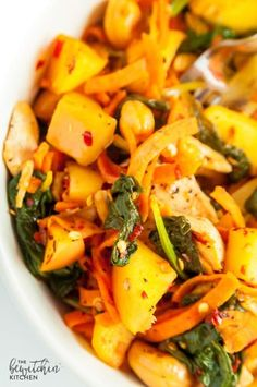 Spicy Chicken and Apple Sweet Potato Stir Fry recipe - a clean eating meal idea that's whole30 compliant and paleo approved. Makes a quick lunch or an easy healthy dinner.