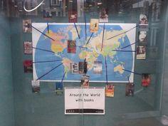 Around the world with books display at Jesmond Library