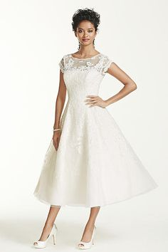 Oleg Cassini Cap Sleeve Illusion Wedding Dress CMK513