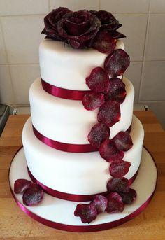 - Crystallised Rose Petal Wedding Cake