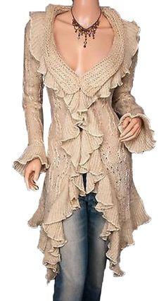 Flounce Ruffles Knit Collared Asym Hem Cardigan Long Sweater Jacket at Amazon Women's Clothing store: