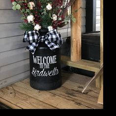 Front Door Decor Discover Personalized Family Name Decal for Milk Can Front Door or other Front Porch Decor (Decal Only) Farmhouse Front, Farmhouse Decor, Country Porch Decor, Farmhouse Christmas Decor, Front Door Decor, Entryway Decor, Front Porch Decorations, Front Porch Fall Decor, Summer Porch Decor