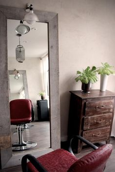 home salon design. Inside the salon  Salon Santo Tomas in Old Town San Diego California Upcycled reception desk using pallets and scaffold boards led