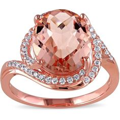 Miadora Rose Plated Silver Simulated Morganite and Cubic Zirconia Ring ($45) ❤ liked on Polyvore featuring jewelry, rings, pink, cz band ring, cz rings, pink ring, cocktail rings and silver rose ring