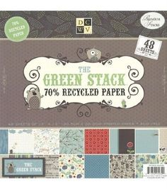 Diecuts with A View 12-Inch by 12-Inch Green 70 Percent Recycled Paper Stack, 48-Sheet Per Pack