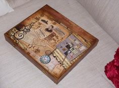 caja de madera con juego de naipes  madera,pinturas acrilicas,papel de scrap decoupage