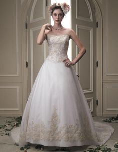 Casablanca 2032 beaded and embroidered sleek satin w for Wedding dresses tampa bay area