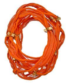 Blu Bijoux Orange Star Studded Wrap Bracelet