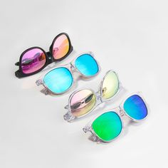 It's summer time now! Let's bring some colors into your life💙💚💜❤️ (In the picture) Our classic collection in multi color variants. Wayfarer Sunglasses, Sports Sunglasses, Mirrored Sunglasses, Memory Frame, Thing 1, Eye Strain, Face Shapes, Neon Green, Lenses