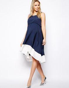 Image 4 ofNew Look Maternity Dip Hem Panel Dress