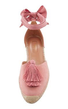 "Aquazzura ""Love Tasselled Suede Espadrilles"" in pink with jute sole, silky-ribbon ankle wrap/ties, oversized tassels, d'Orsay silhouette and low flat platform 