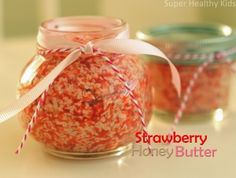 Fresh Strawberry Honey Butter.  Only 4 ingredients.  Such a cute idea for a Valentine's gift!  Serve it to your kids with Valentine's breakfast!