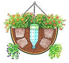 self watering hanging basket - Need to try this for the hanging baskets on the porch. self watering hanging basket - Need to try this for the hanging baskets on the porch. Container Flowers, Container Plants, Container Gardening, Indoor Gardening, Succulent Containers, Container Design, Plastic Pop, Plastic Canvas, Pot Jardin