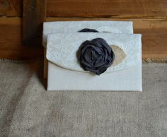 2 Wedding Clutches Burlap & Lace Grey Flower Purse Rustic Chic Bridesmaid Gift Fall Autumn Bridal Clutch Charcoal Gray by theBluebirdStudio on Etsy