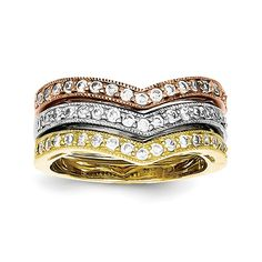 Sterling Silver Vermeil Trio Stackable CZ Rings -- Check out this great image  : Jewelry Rings Stacking