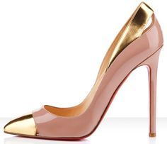 christian louboutin blush heels with gold cap toe