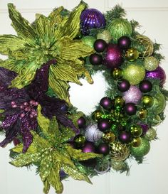 Lime Green Purple Poinsettia Christmas Wreath.