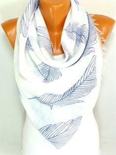 Scarf, Shawl, Scarves,  Leaf Painted Scarf, Leaf Pattern Scarves, Leaf Printed Scarf, Womens Fashion Accessories, Lightweight Summer Scarf by ByBosphorus on Etsy