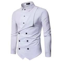Men Shirt Brand Personality Double-breasted Fake Two Shirt Formal Solid Color Slim Fit Cotton Long Sleeve Dress Shirts Camisa Nigerian Men Fashion, Indian Men Fashion, Mens Fashion Suits, Slim Fit Dress Shirts, Slim Fit Dresses, Fitted Dress Shirts, Cool Shirts For Men, Stylish Shirts, Casual Shirts