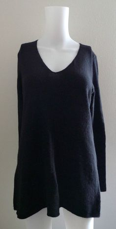 SUTTON CASHMERE 100% CASHMERE BLACK V-NECK SWEATER BLOUSE TOP WARM STYLISH #SuttonCashmere #VNeck