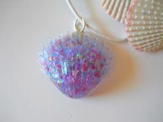 Nautical+Seashell+Necklace+Purple+Resin+by+BeachHouseTreasures,+$15.50