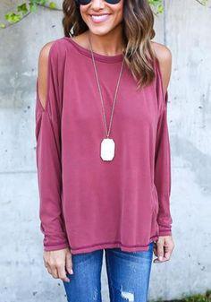 2f6bd1d7c0c5b Rose Carmine Plain Cut Out Backless T-Shirt Fashion Wear