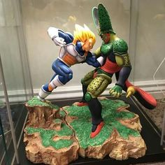 Vegeta vs Cell - Visit now for 3D Dragon Ball Z compression shirts now on sale! #dragonball #dbz #dragonballsuper Dbz, Figurine Dragon, Dragon Wagon, Dragon Ball Z Shirt, Anime Figurines, Anime Merchandise, 3d Prints, Action Figures, Collection