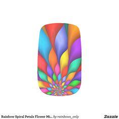 Rainbow Spiral Petals Flower Minx Nails
