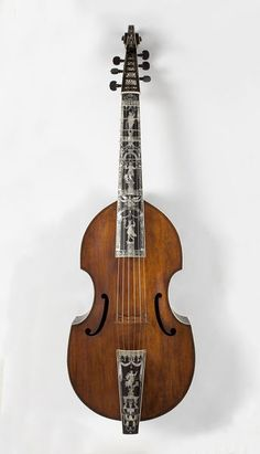 Bass viol | Place of origin: Hamburg, Germany (made) Date: 1726 (made) Artist/Maker: Voigt, Martin (maker) Materials and Techniques: Ebony inlaid with mother-of-pearl, ebony ribs with ivory stringing. V & A