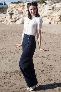 1940sPantsHistoryOverallsJeansSailorSirenSuits Sailor Pants Navy €82.00 AT vintagedancer.com