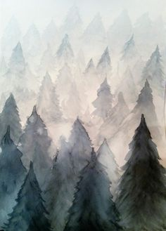 Water has been used to dilute the water colours in an organised pattern.In the foreground the trees depicted are deeper in colour, and as the trees continue to the background the become faded; this technique also adding perspective. The texture of trees has been achieved by a certain technique of layering.